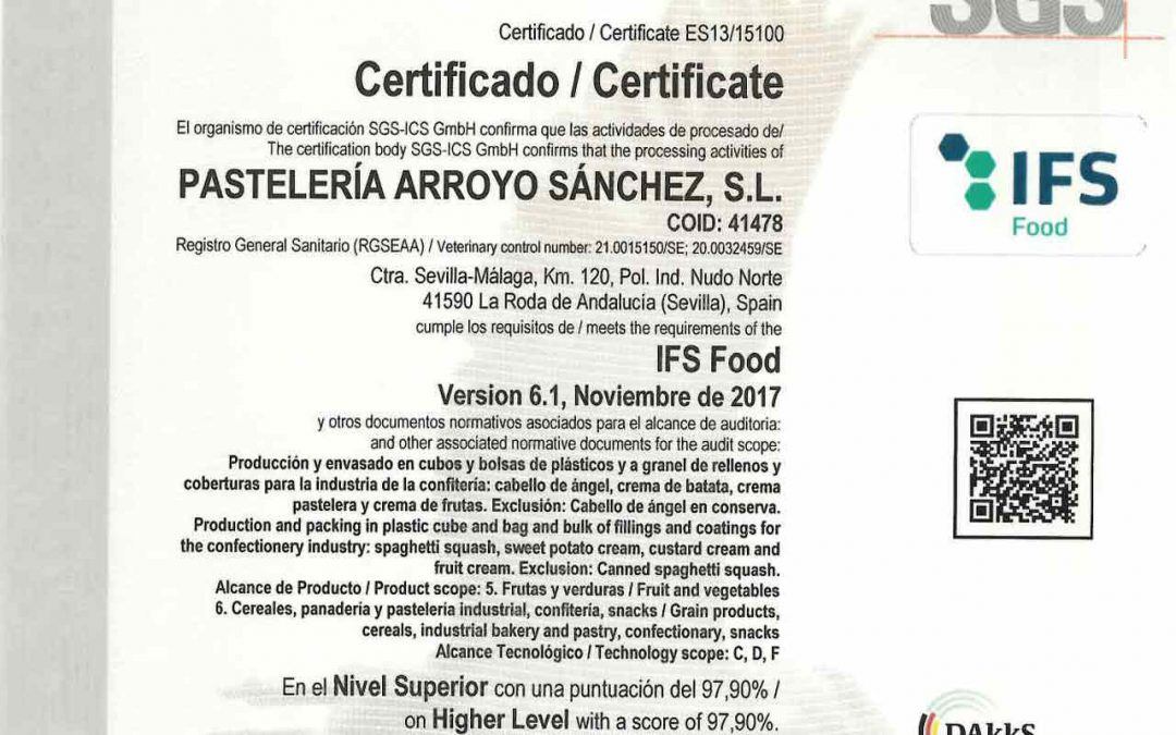 We have approved IFS FOODS for 2020